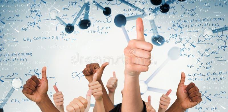 Imagem composta das mãos que mostram os polegares acima imagens de stock royalty free