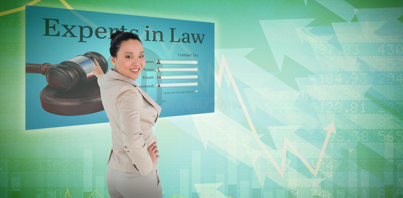 Imagem composta de apontar asiático de sorriso da mulher de negócios imagem de stock royalty free