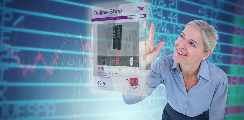 Imagem composta de apontar de sorriso da mulher de negócios imagem de stock