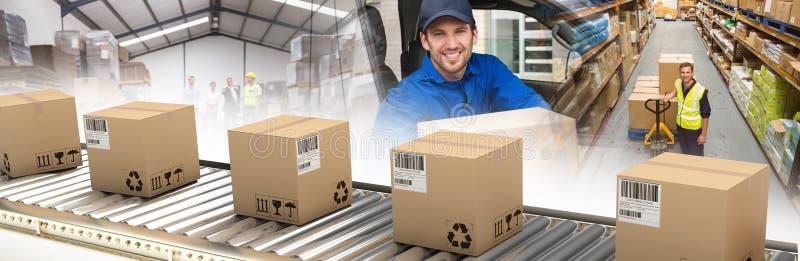 Imagem composta de caixas de cart?o na linha de produ??o imagem de stock royalty free