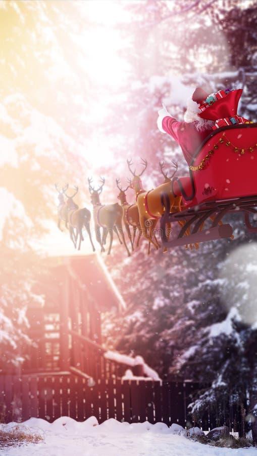 Imagem composta de defocused de luzes e de chaminé da árvore de Natal ilustração stock