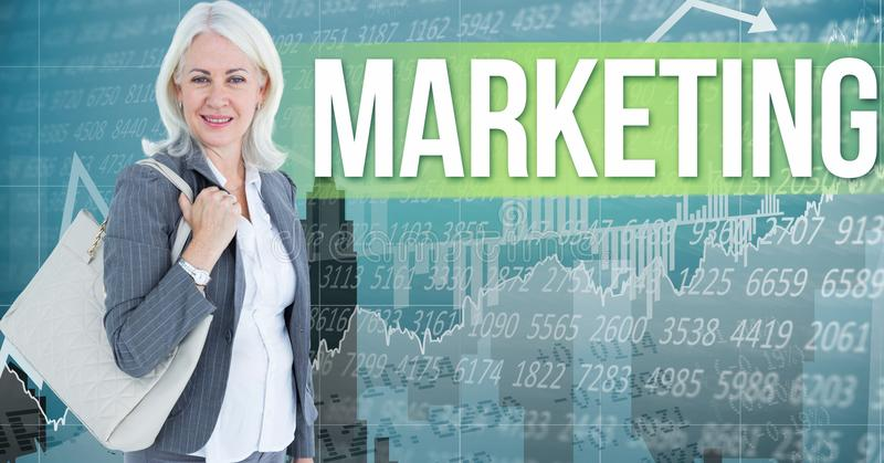 Imagem composta de Digitas da mala a tiracolo levando da mulher de negócios que está introduzindo no mercado o texto contra o NU ilustração do vetor