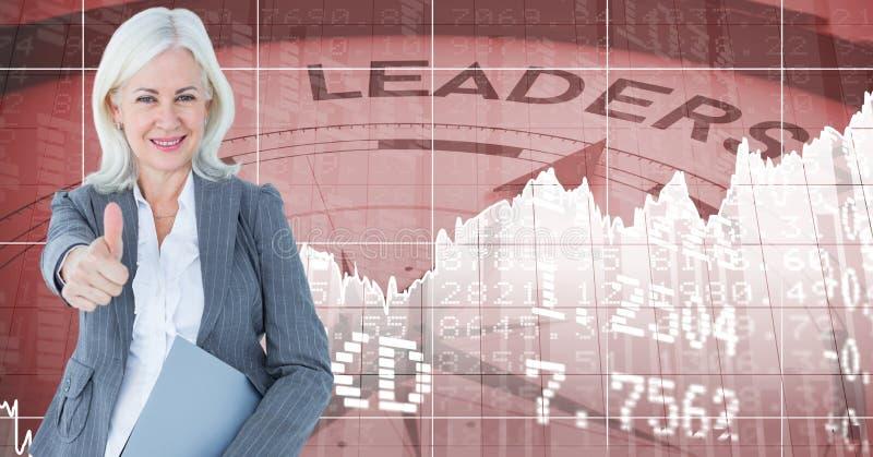 Imagem composta de Digitas da mulher de negócios que gesticula os polegares que levantam-se contra números e wi do compasso ilustração do vetor