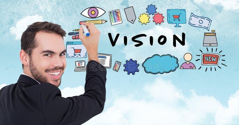 Imagem composta de Digitas de símbolos novos do desenho do homem de negócios com texto da visão ilustração do vetor