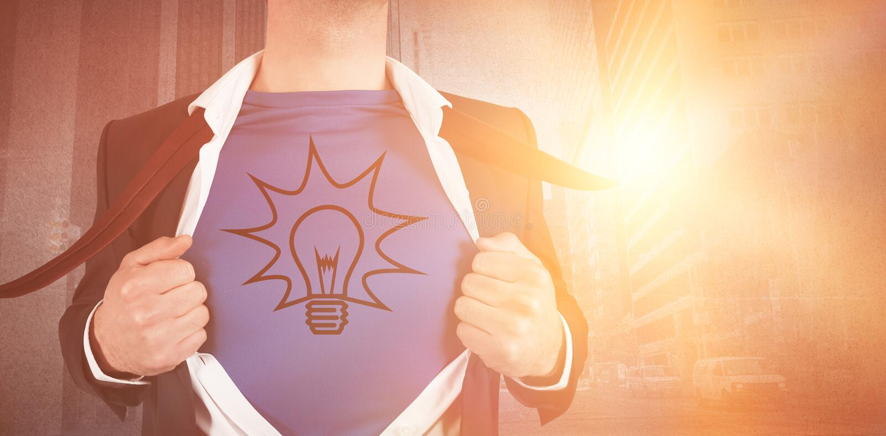 Imagem composta de Digitas do homem de negócios que abre seu estilo do super-herói da camisa fotos de stock