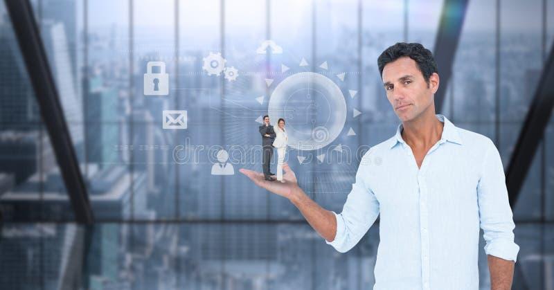 Imagem composta de Digitas do homem de negócios que guarda colegas na palma ilustração do vetor