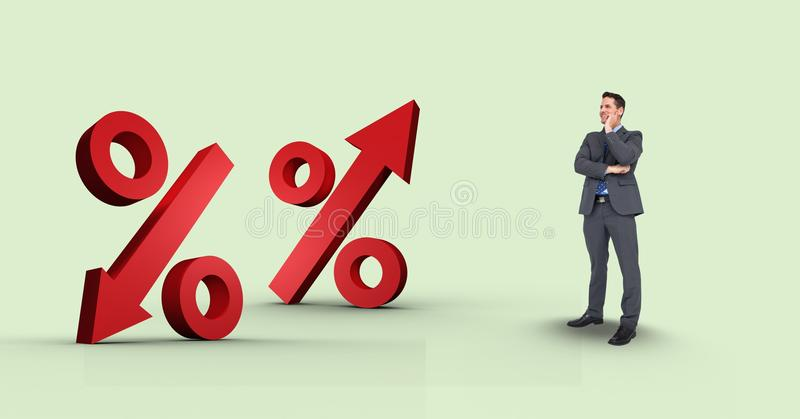 Imagem composta de Digitas do homem de negócios que olha sinais de porcentagem ilustração do vetor