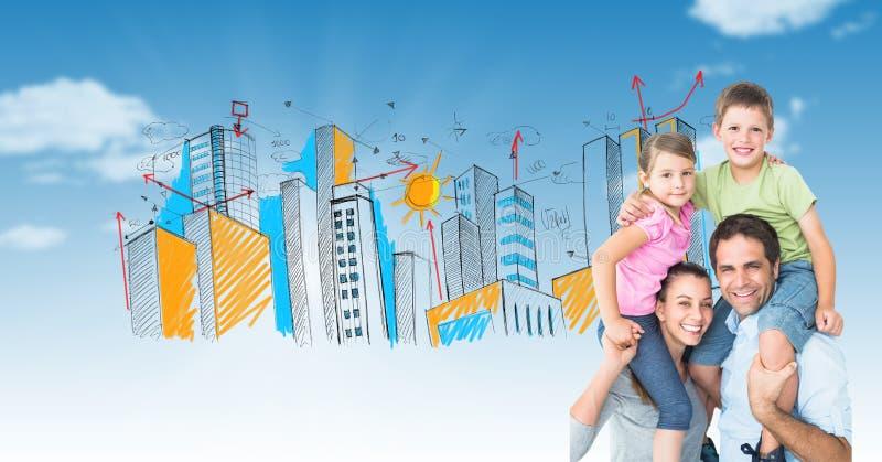 Imagem composta de Digitas dos pais que levam crianças em ombros com a cidade tirada no fundo imagens de stock