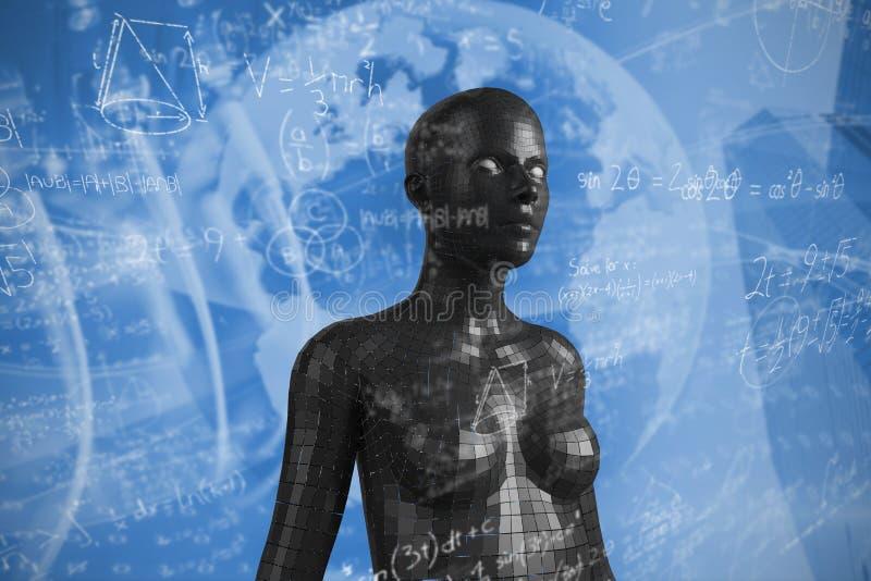 Imagem composta de fórmulas complicadas matemáticas ilustração do vetor