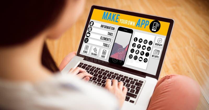 A imagem composta de faz seu próprio smartphone do app fotografia de stock