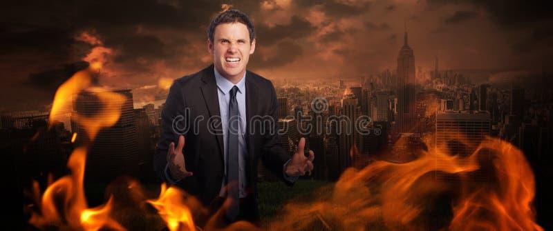 Imagem composta de gesticular forçado do homem de negócios fotos de stock