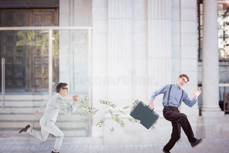 Imagem composta de homem de negócios running imagens de stock royalty free