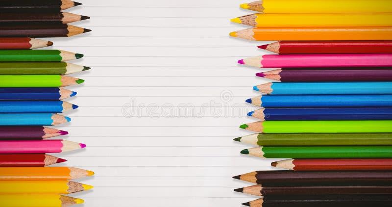 Imagem composta de lápis coloridos fotos de stock