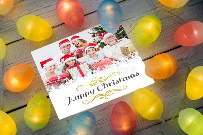 Imagem composta de luzes de Natal na tabela ilustração royalty free
