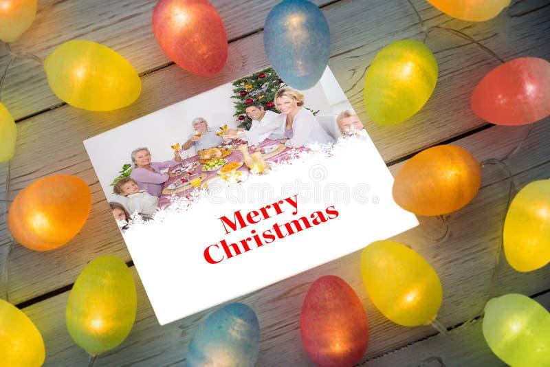 Imagem composta de luzes de Natal na tabela ilustração do vetor