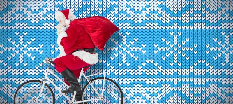 Imagem composta de Papai Noel que entrega presentes com bicicleta imagens de stock