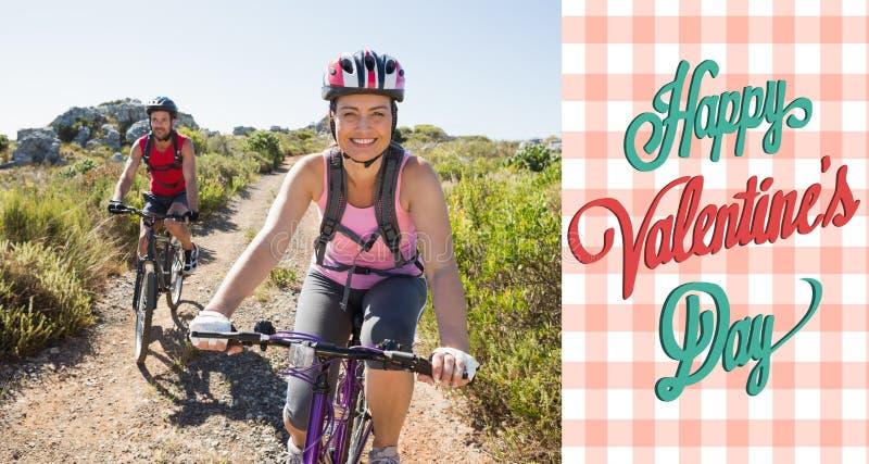 A imagem composta de pares ativos em uma bicicleta monta no campo ilustração do vetor