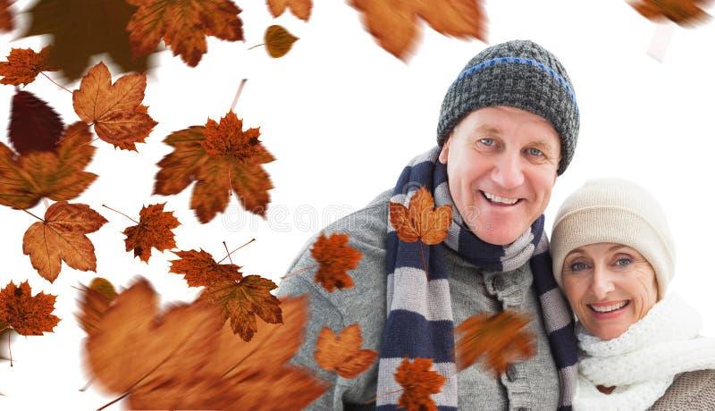 Imagem composta de pares maduros do inverno fotos de stock royalty free
