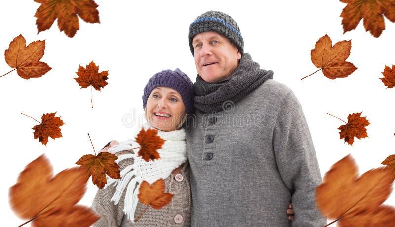 Imagem composta de pares maduros do inverno fotografia de stock royalty free