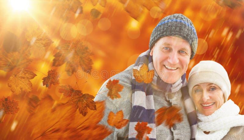 Imagem composta de pares maduros do inverno imagens de stock