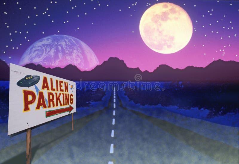 Imagem composta de um estacionamento estrangeiro da leitura do sinal de estrada e de uma estrada que conduzem às montanhas distan ilustração stock