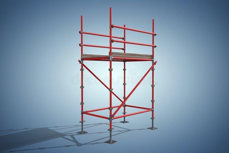 Imagem composta de uma imagem de três dimensões da estrutura vermelha do andaime ilustração stock