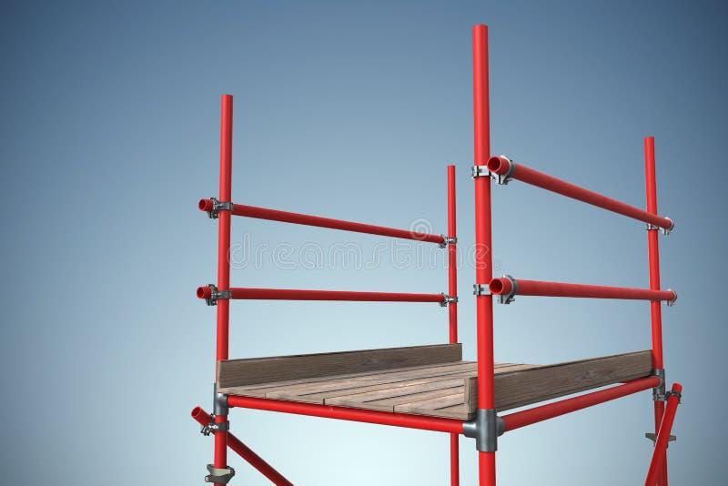 Imagem composta de uma imagem de três dimensões do andaime vermelho ilustração stock