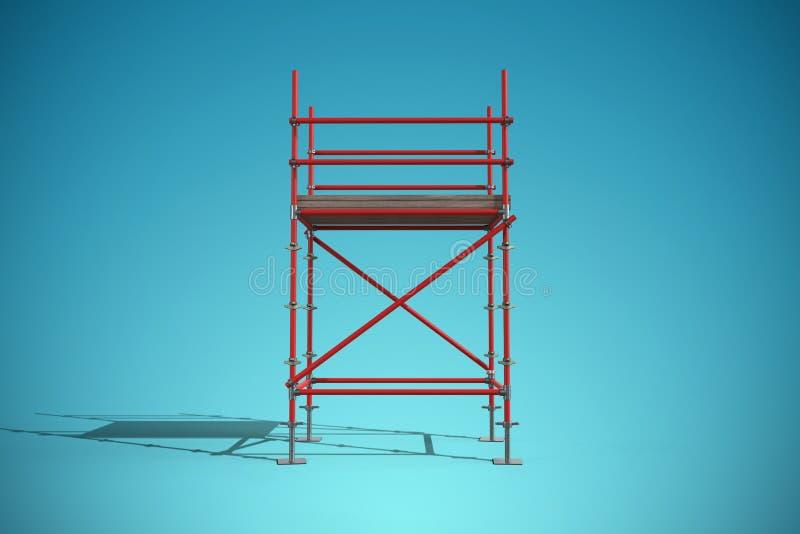 Imagem composta de uma imagem de três dimensões do quadro vermelho do andaime ilustração royalty free