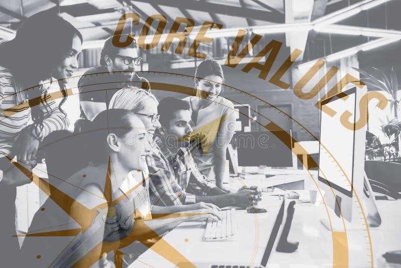 Imagem composta de valores do núcleo contra o compasso ilustração royalty free