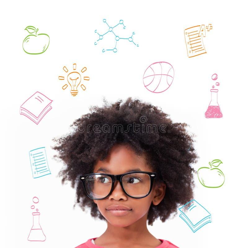 Imagem composta de vidros vestindo do aluno bonito imagens de stock royalty free