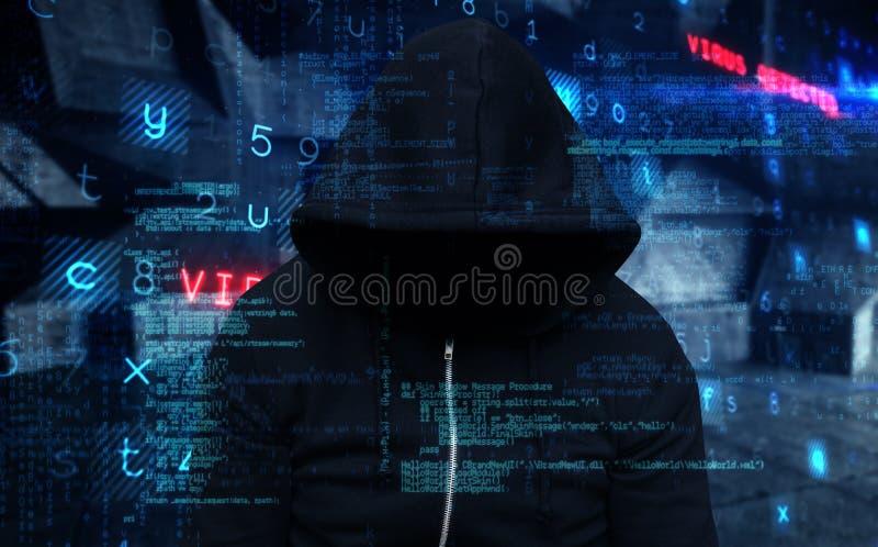 Imagem composta do assaltante que veste o revestimento encapuçado preto imagens de stock