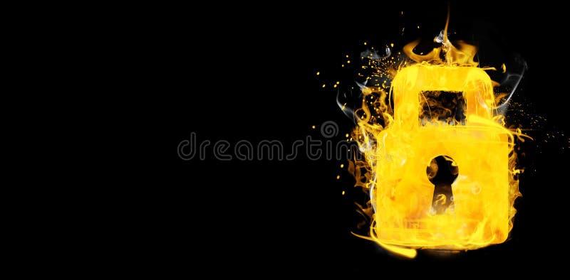 Imagem composta do cadeado fechado no fogo ilustração do vetor