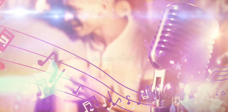 Imagem composta do close-up do microfone fotografia de stock royalty free
