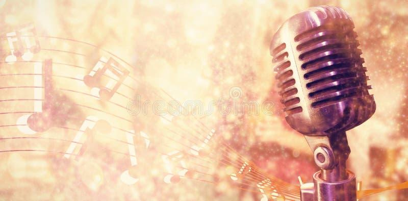 Imagem composta do close-up do microfone fotografia de stock