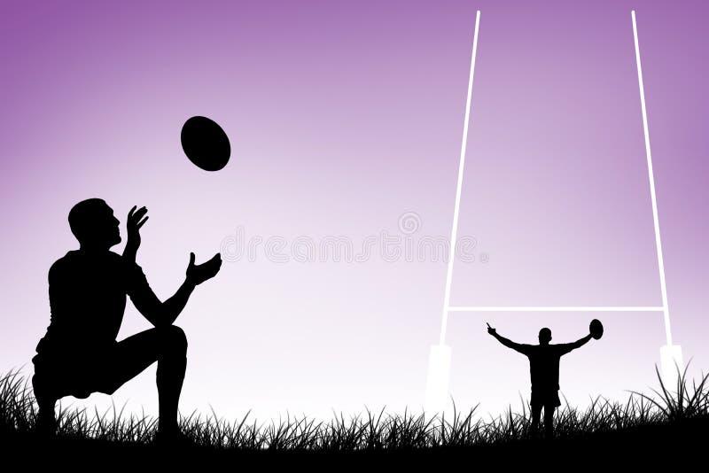 Imagem composta do comprimento completo do jogador do rugby que trava a bola ilustração stock