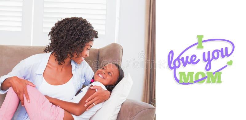 Imagem composta do cumprimento do dia de mães ilustração do vetor