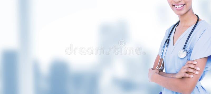 Imagem composta do doutor de sorriso com estetoscópio fotografia de stock