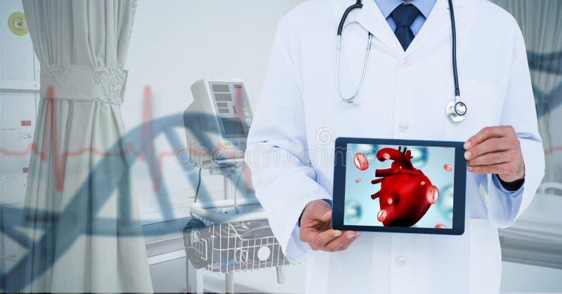Imagem composta do doutor que mostra a tabela com coração fotos de stock