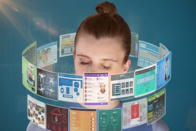 Imagem composta do fim acima da mulher bonita que medita 3d foto de stock