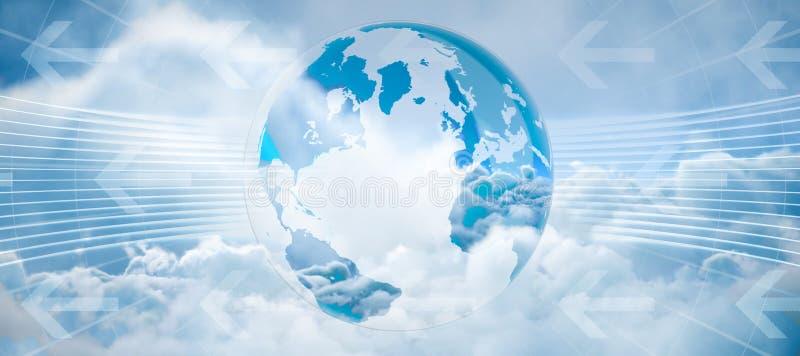 Imagem composta do gráfico de negócio global no azul ilustração do vetor