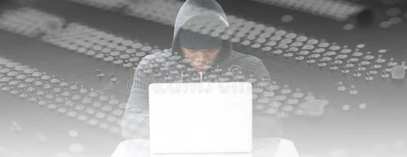 Imagem composta do hacker masculino focalizado que usa o portátil ilustração stock