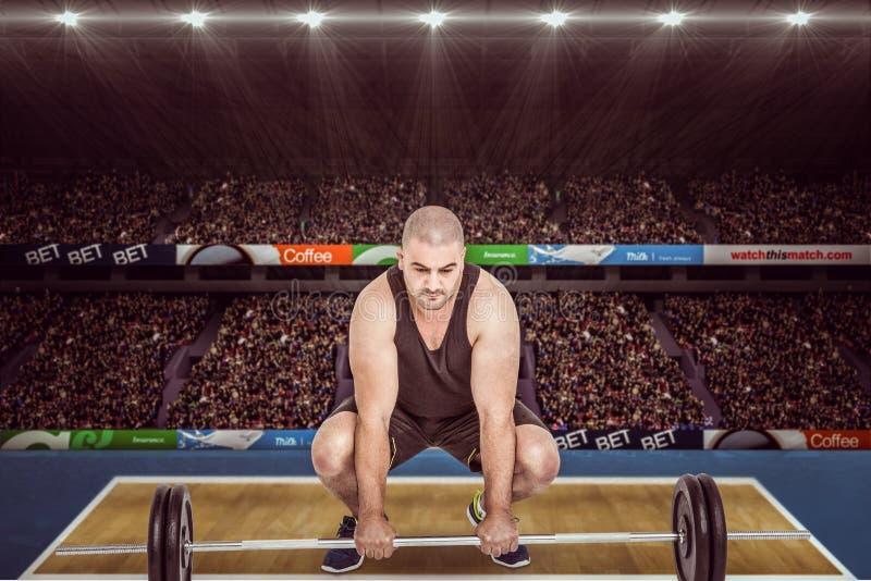 Imagem composta do halterofilista que levanta pesos pesados do barbell imagem de stock