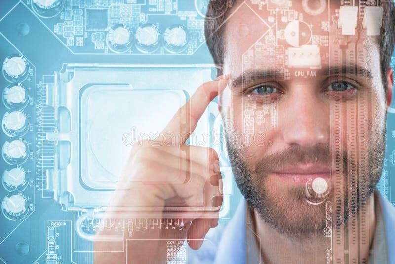 Imagem composta do homem com dedo que aponta à cabeça imagem de stock royalty free