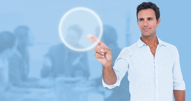 Imagem composta do homem considerável que faz o gesto da arma foto de stock royalty free