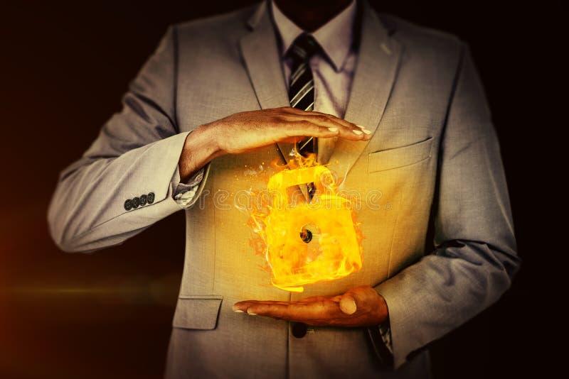 Imagem composta do homem de negócios considerável que gesticula com mãos foto de stock royalty free