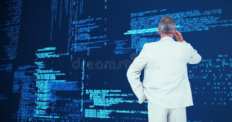 Imagem composta do homem de negócios de pensamento imagem de stock royalty free