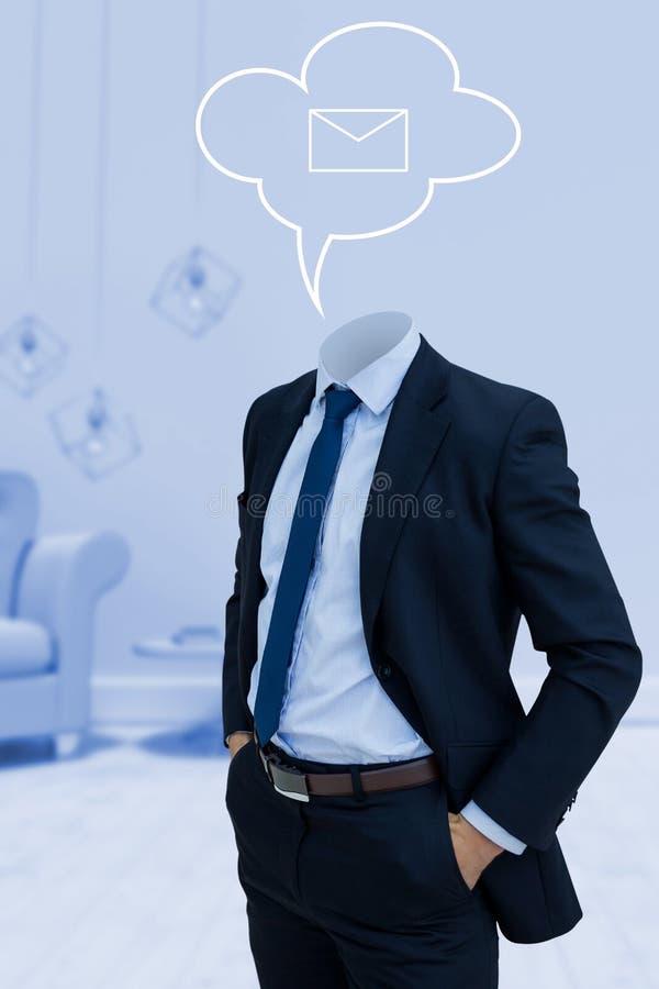Imagem composta do homem de negócios decapitado com mãos em uns bolsos fotografia de stock royalty free