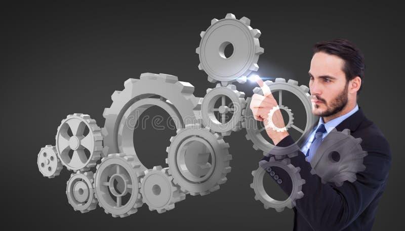 Imagem composta do homem de negócios focalizado que aponta no revestimento do terno ilustração do vetor