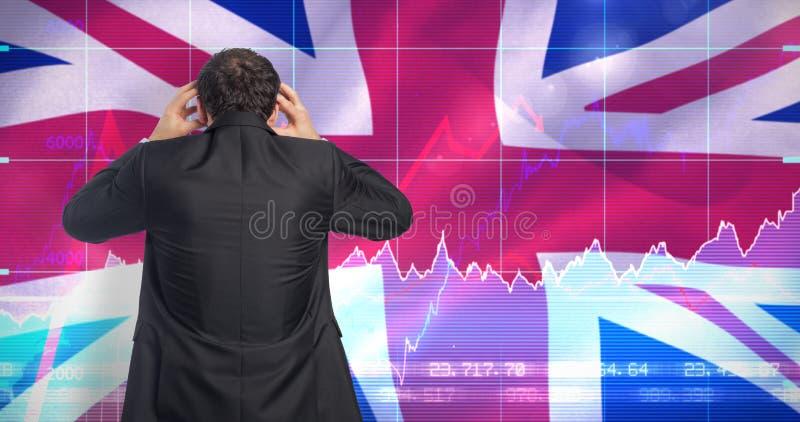Imagem composta do homem de negócios forçado com mãos na cabeça fotos de stock