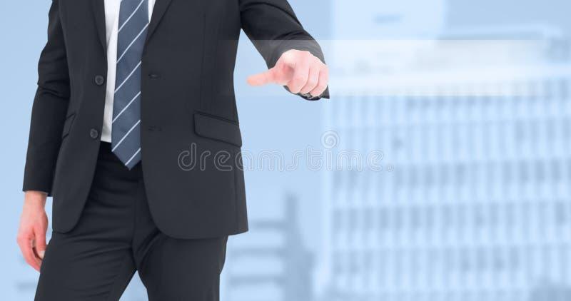 Imagem composta do homem de negócios meados de da seção que aponta com seu dedo imagem de stock royalty free